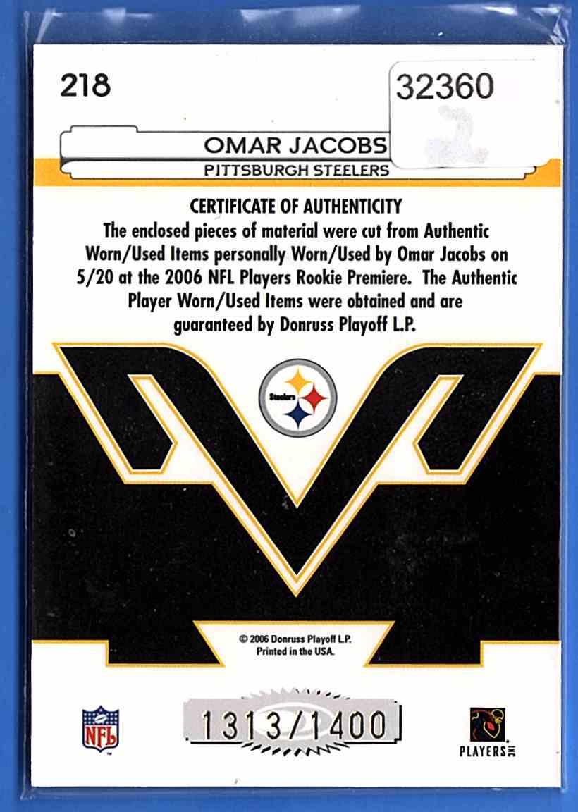 2006 Leaf Certified Materials Omar Jacobs #218 card back image