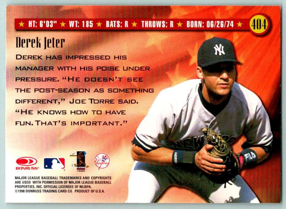 1998 Donruss Spirit Of The Game Derek Jeter #404 card back image