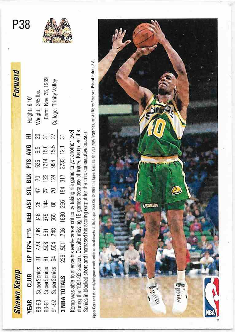 1993-94 Upper Deck McDonald Shawn Kemp #P38 card back image
