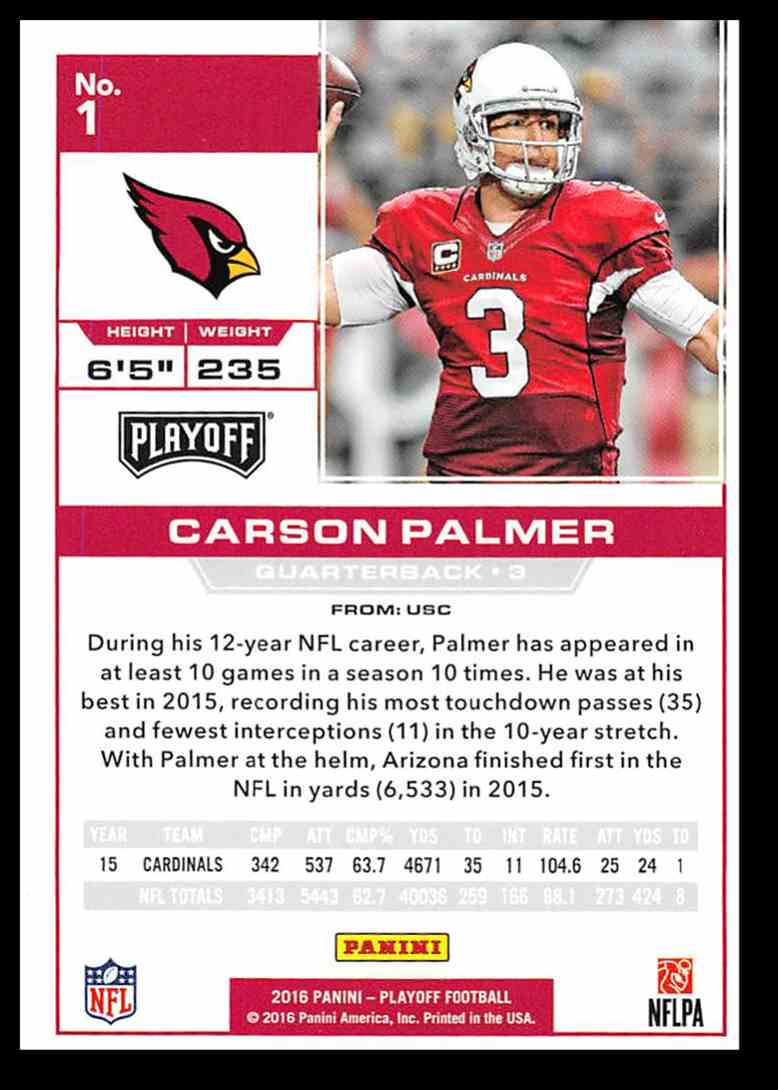 2016 Playoff Carson Palmer #1 card back image