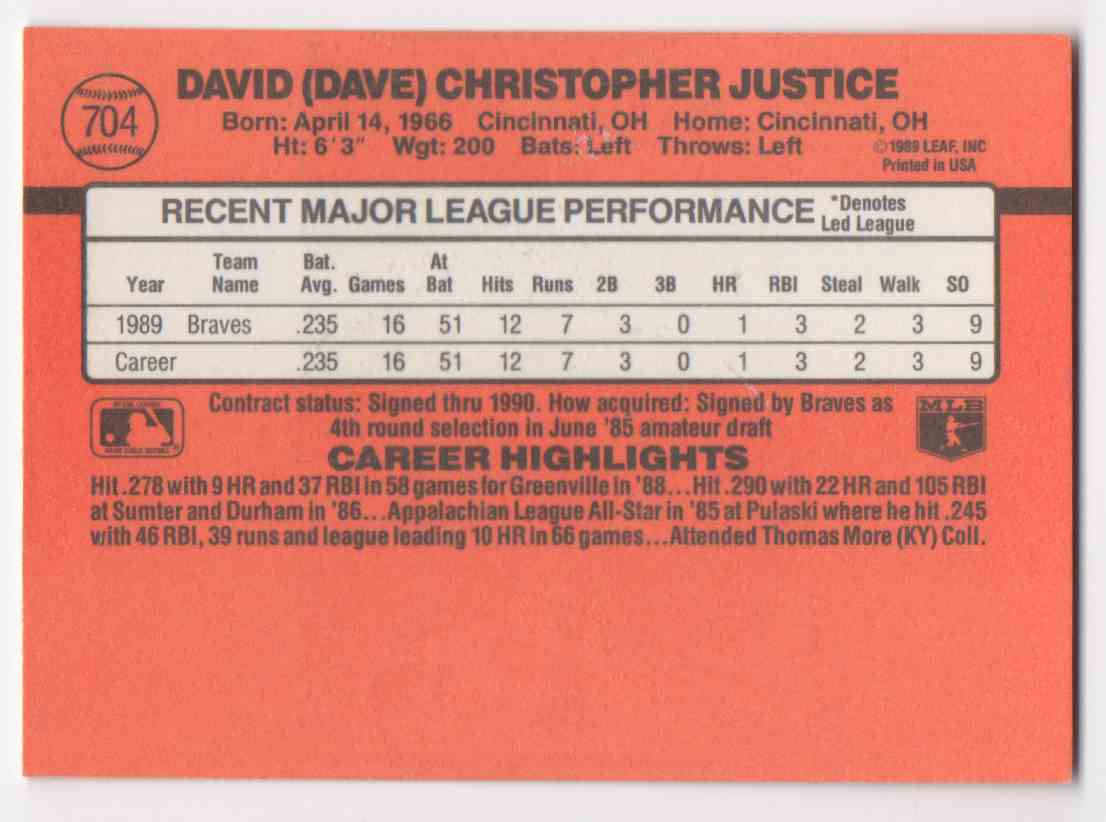 1990 Donruss Dave Justice #704 card back image