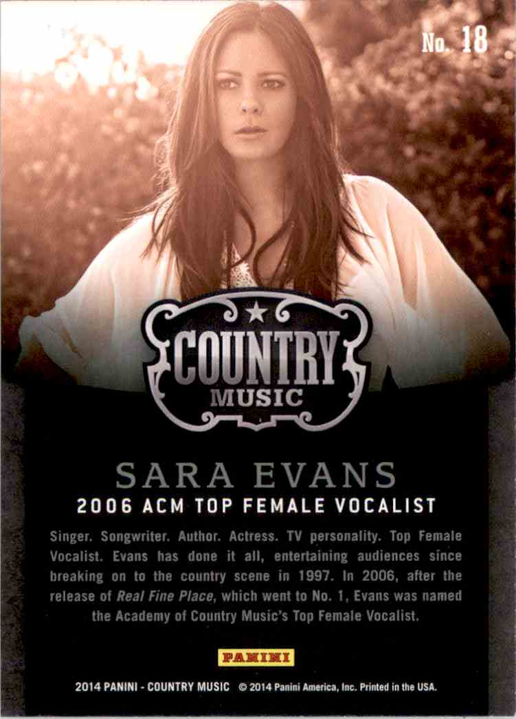 2015 Country Music Award Winners Green Sara Evans #18 card back image