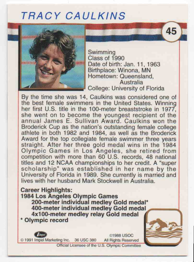 1991 Impel U.S. Olympic Hall Of Fame Tracy Caulkins #45 card back image