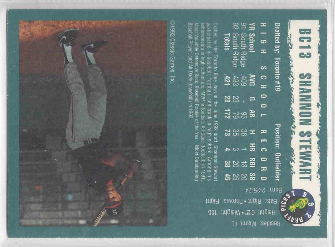 1992 Classic Draft Picks Silver Foil Shannon Stewart #BC 13 card back image