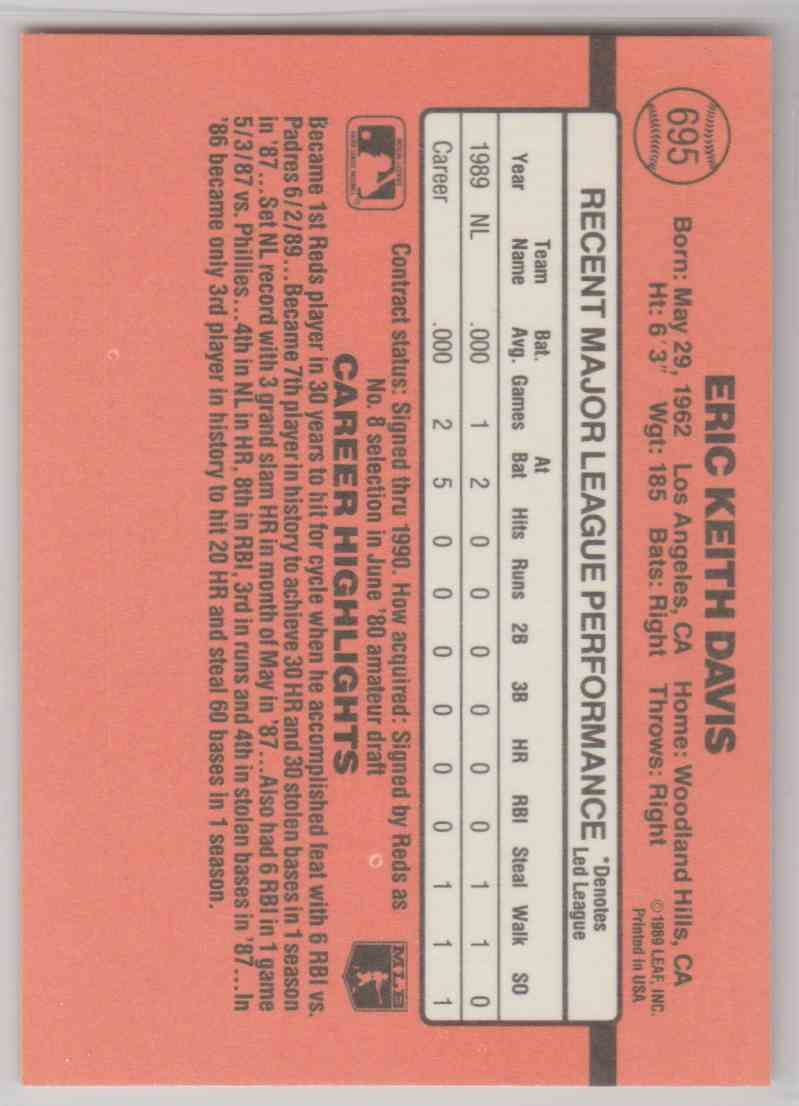 1990 Donruss Eric Davis #695 card back image