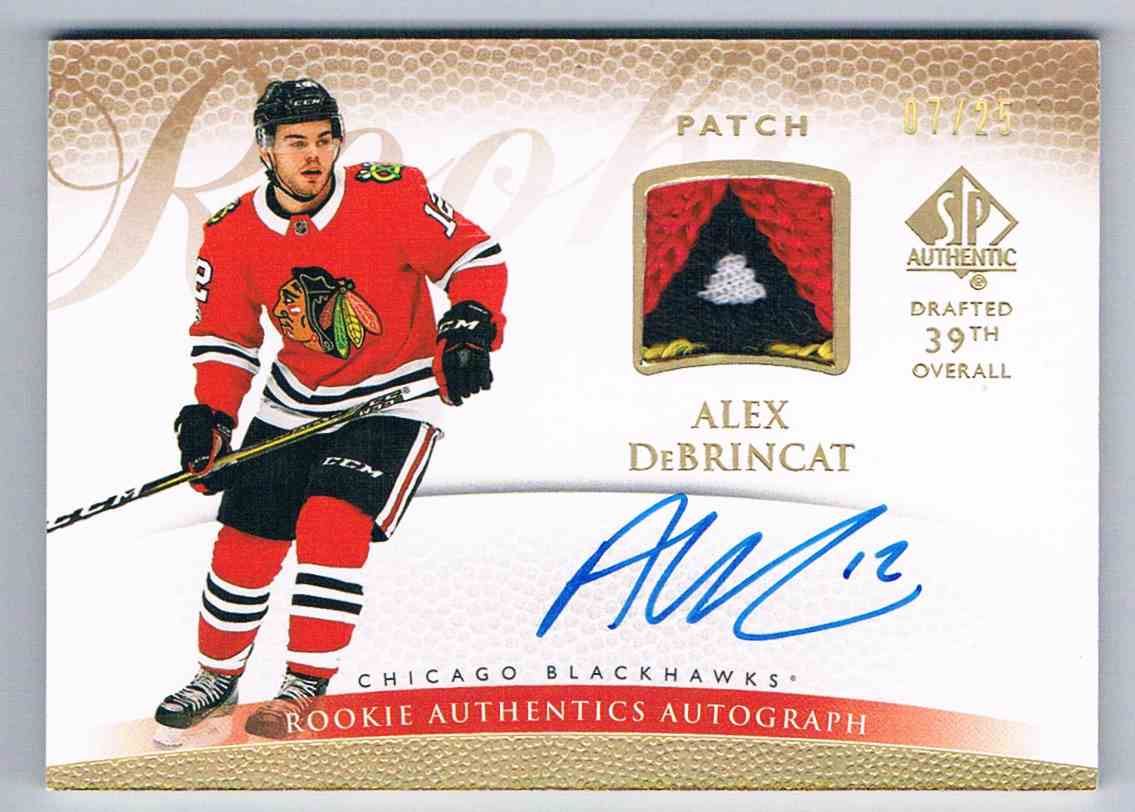 2017-18 SP Authentic '07-08 Retro Rookie Patch Autographs Alex DeBrincat #R-AD card front image