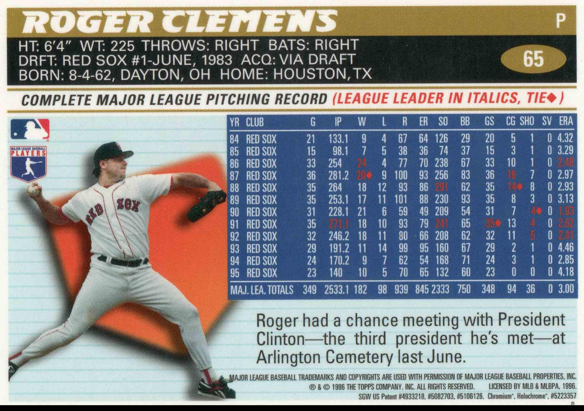 1996 Topps Chrome Roger Clemens #65 card back image