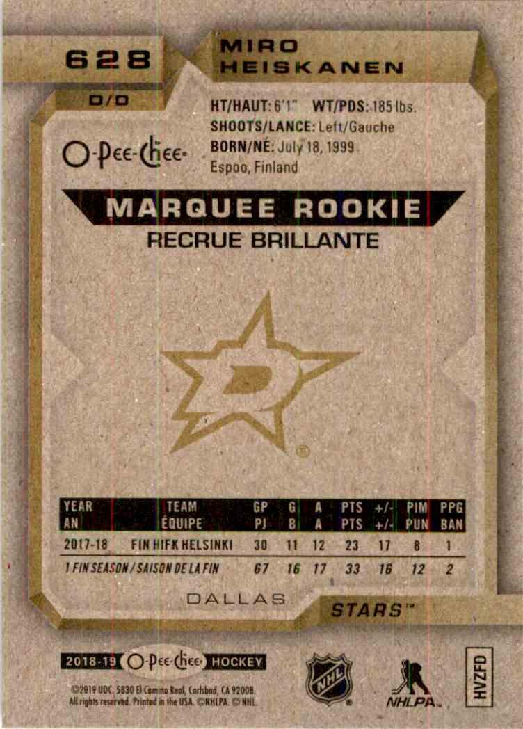 2018-19 O-Pee-Chee Marquee Rookie Silver Miro Heiskanen #628 card back image