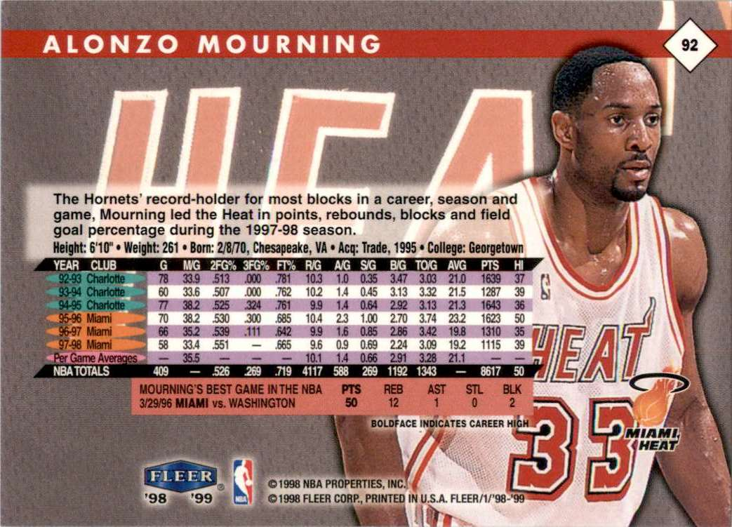 1998-99 Fleer Alonzo Mourning #92 card back image