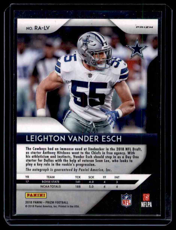 2018 Panini Prizm Leighton Vander Esch card back image