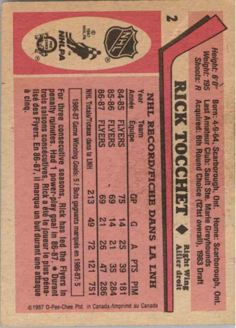 1987-88 O-Pee-Chee Rick Tocchet #2 card back image