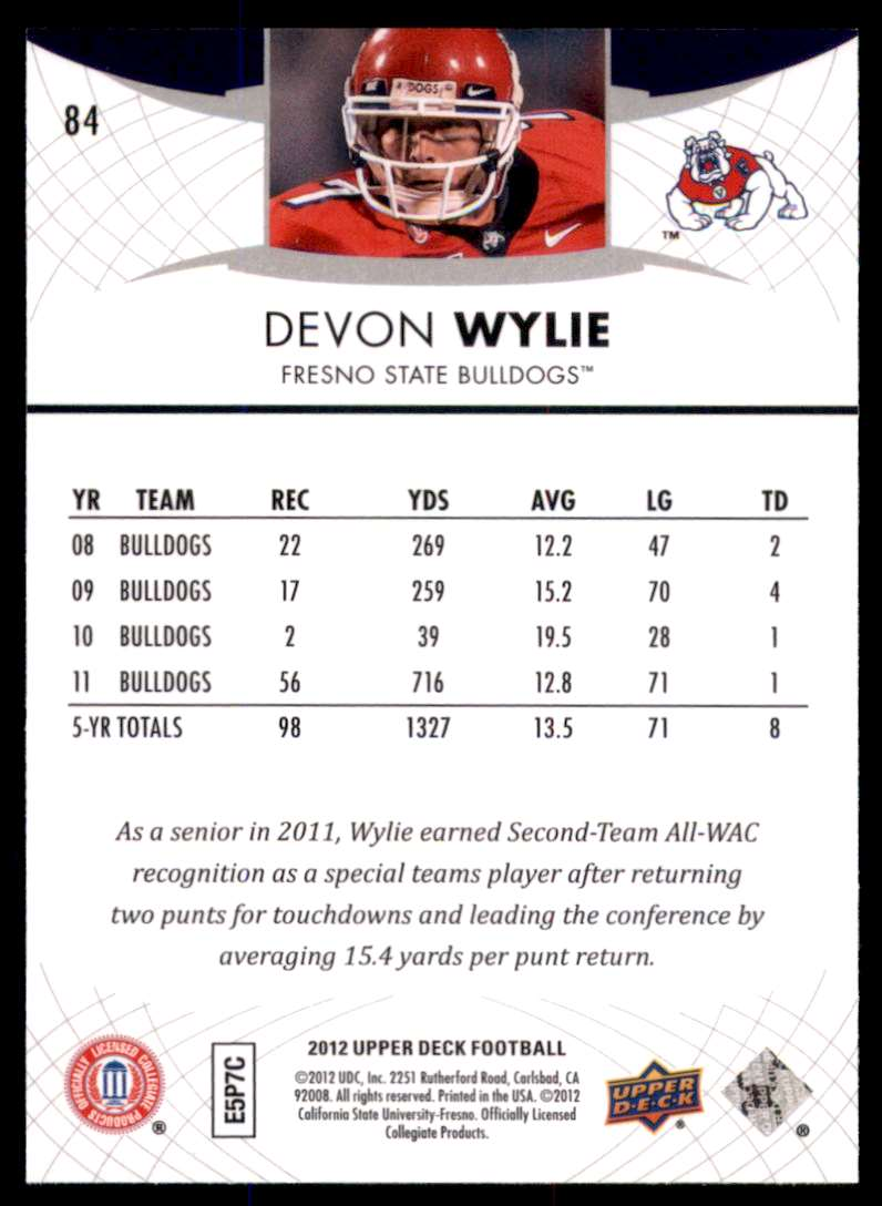2012 Upper Deck Devon Wylie #84 card back image