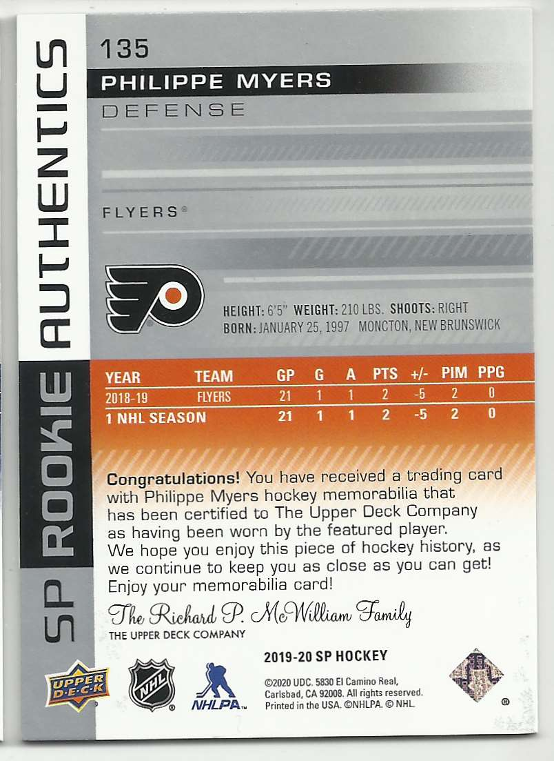 2019-20 SP Jerseys Philippe Myers #135 card back image