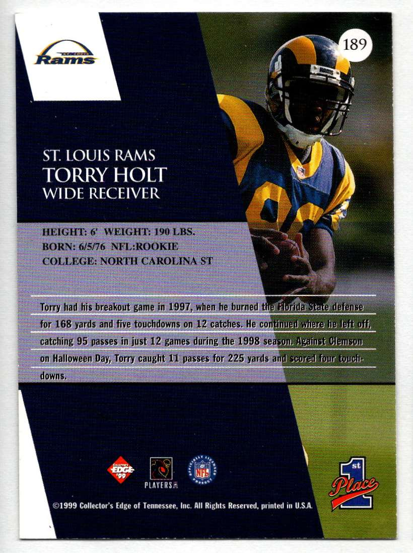 1999 Collectors Edge1st Place Torry Holt #189 card back image