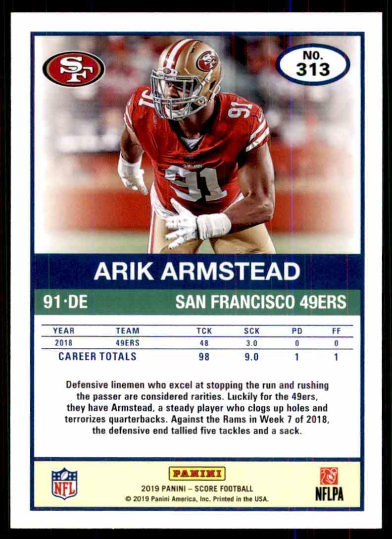 2019 Score Arik Armstead #313 card back image