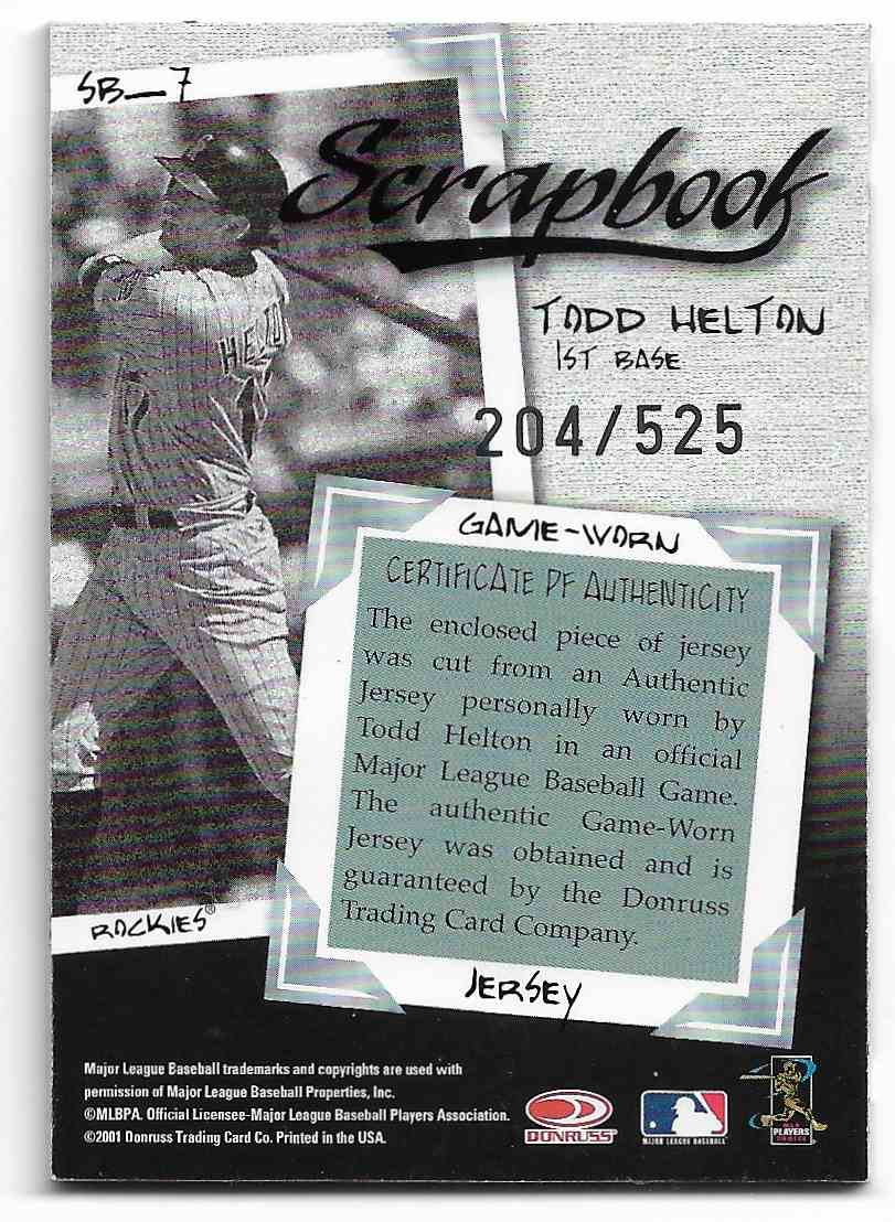 2001 Donruss Class Of 2001 Todd Helton #SB-7 card back image