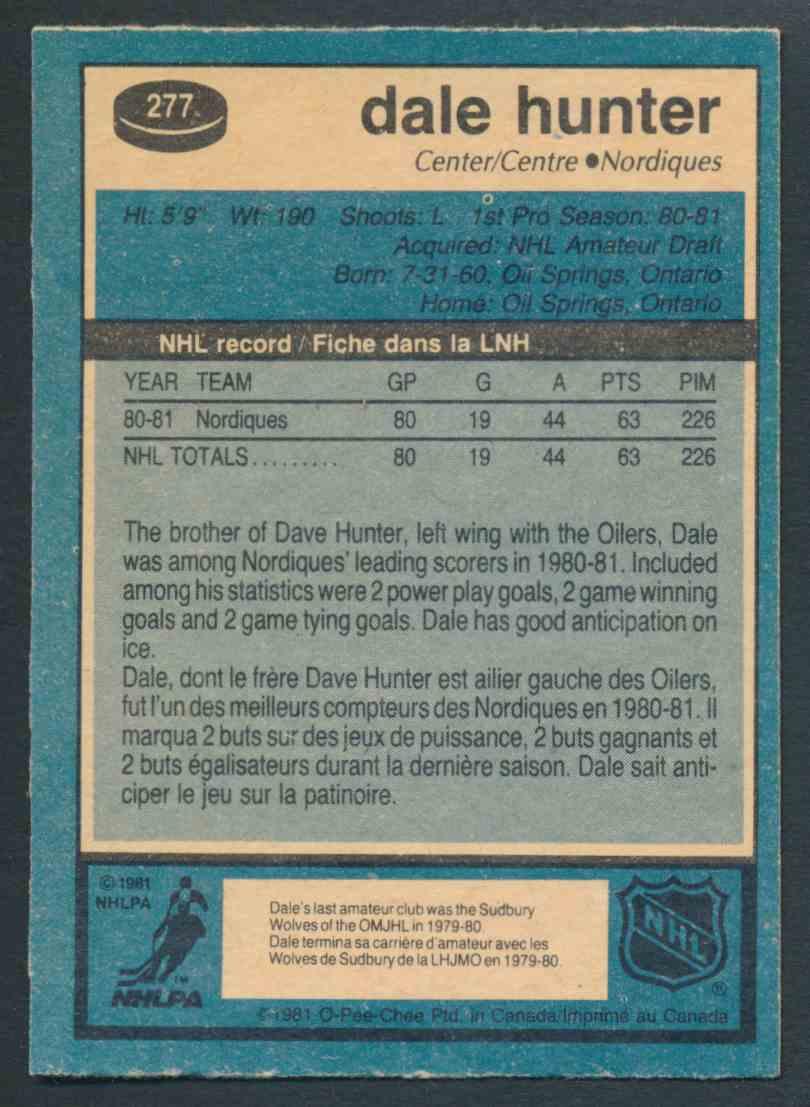 1981-82 O-Pee-Chee Dale Hunter #277 card back image