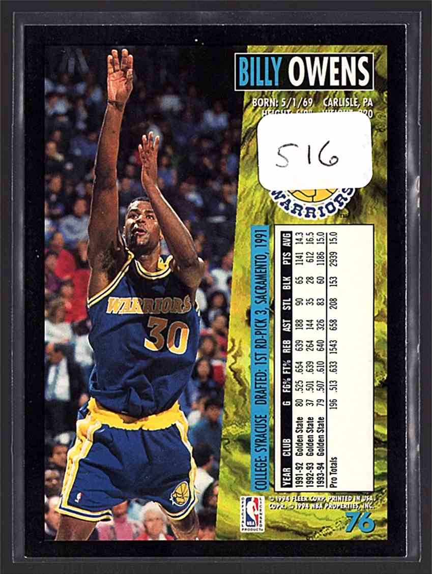 1994 95 Fleer Billy Owens 76 on Kronozio