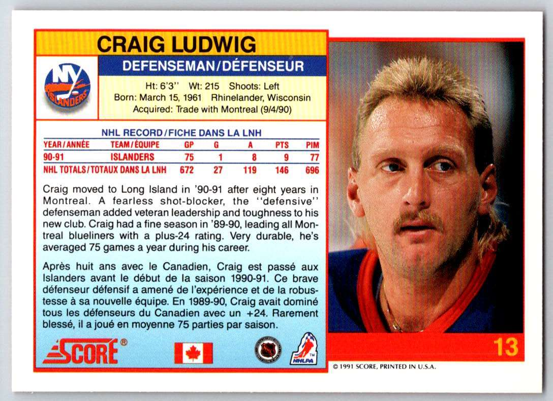 1991-92 Score Canadian Bilingual Craig Ludwig #13 card back image