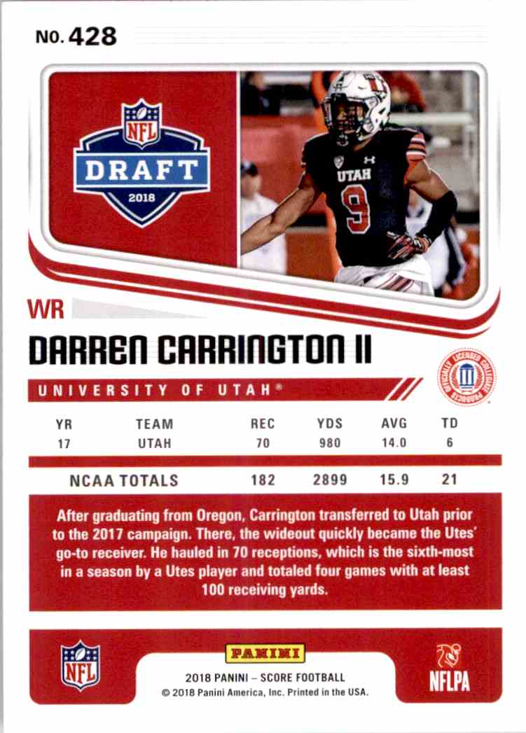 2018 Panini Score Darren Carrington II #428 card back image