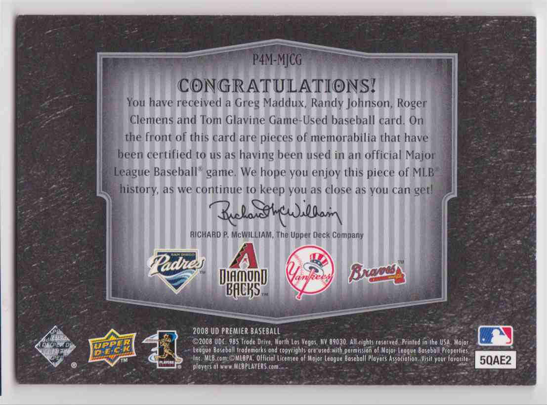 2008 UD Premier Foursome Greg Maddux - Tom Glavine - Randy Johnson - Roger Clemens #P4M-MJCG card back image