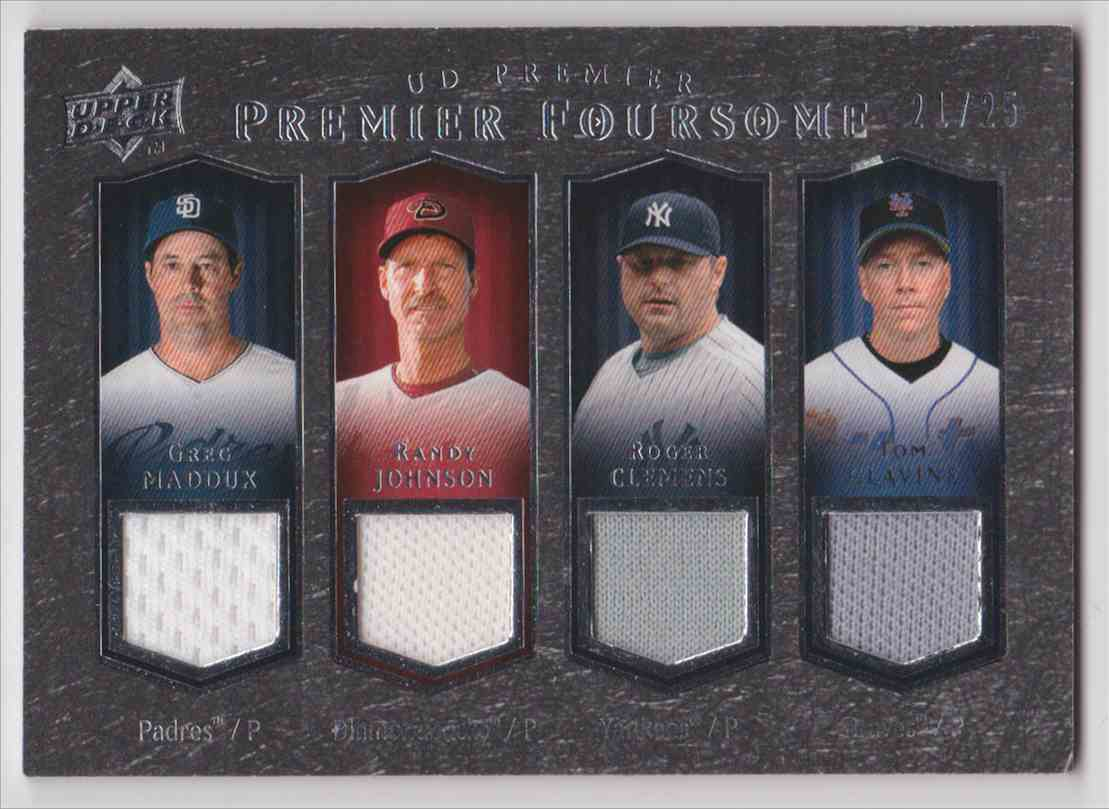 2008 UD Premier Foursome Greg Maddux - Tom Glavine - Randy Johnson - Roger Clemens #P4M-MJCG card front image