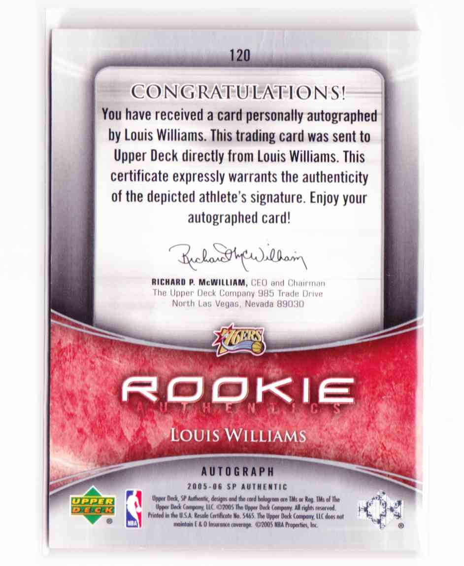 2005-06 SP Authentic Lou Willaims #120 card back image