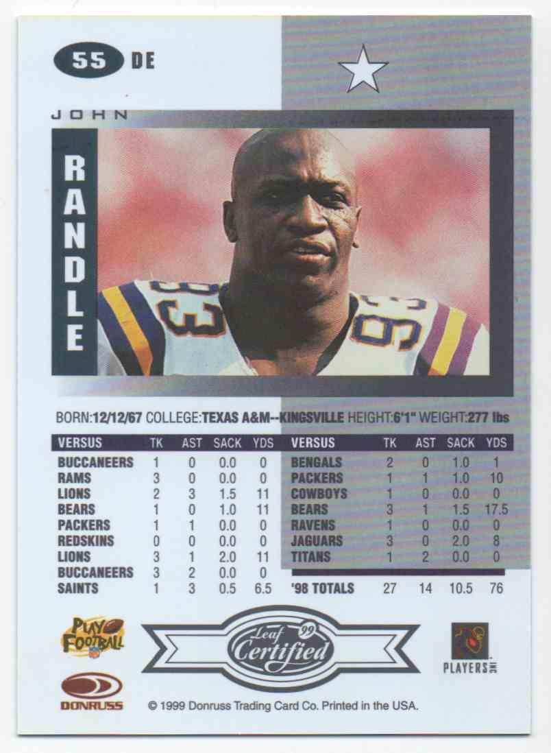 1999 Leaf Certified John Randle #55 card back image