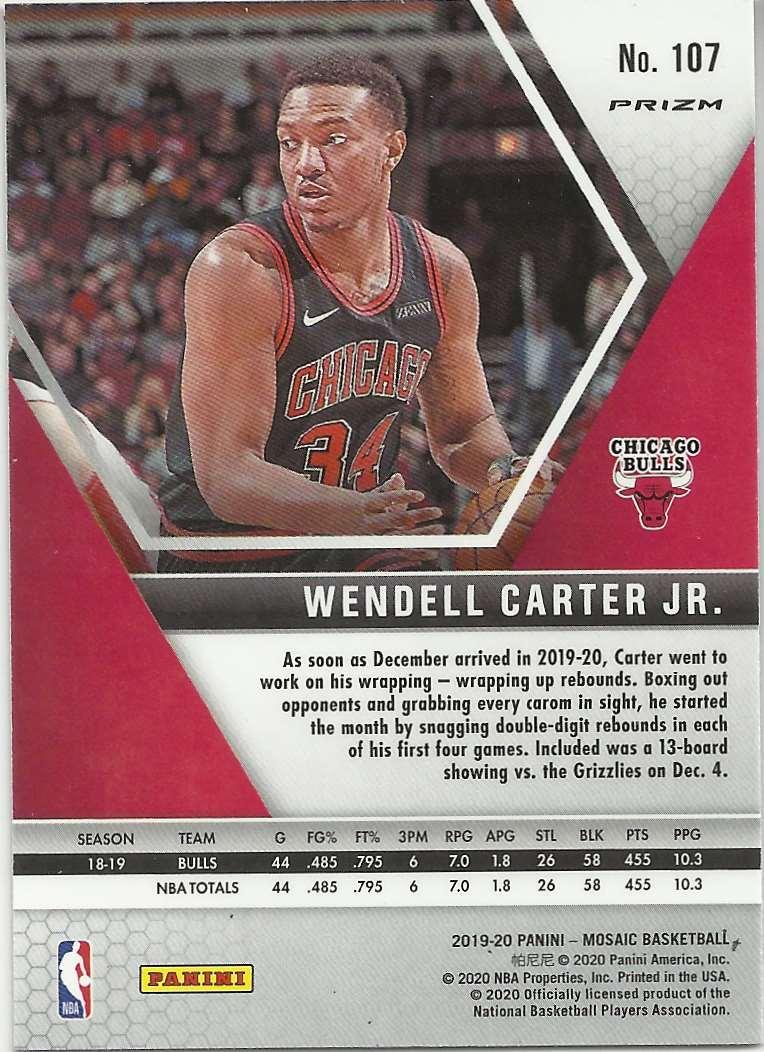 2019-20 Panini Mosaic Mosaic Pink Camo Wendell Carter JR #107 card back image