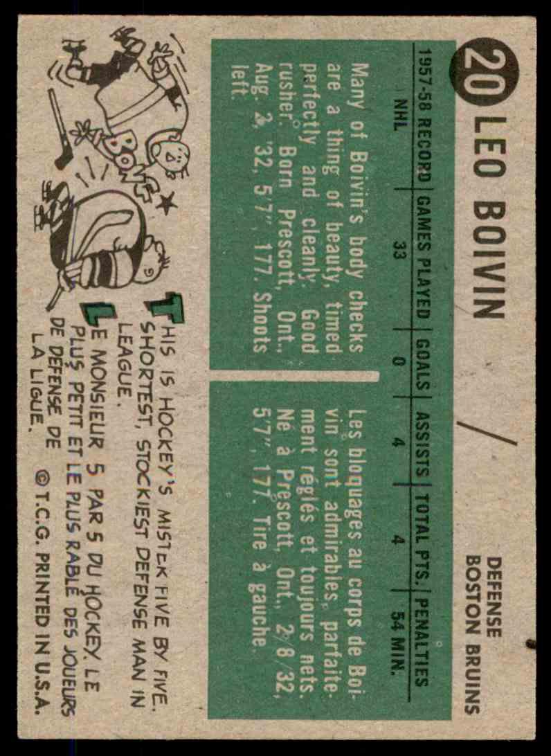 1958-59 Topps Leo Boivin #20 card back image