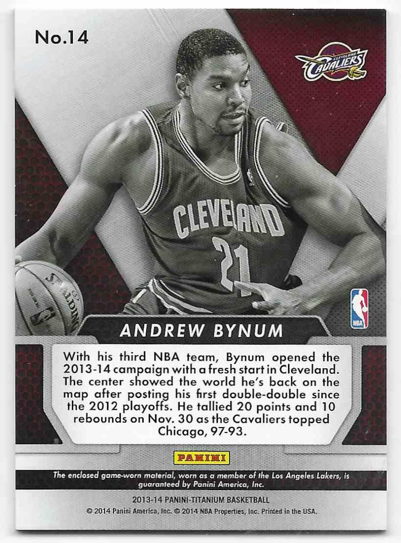 2013-14 Panini Titanium Double Double Jerseys Andrew Bynum #14 card back image