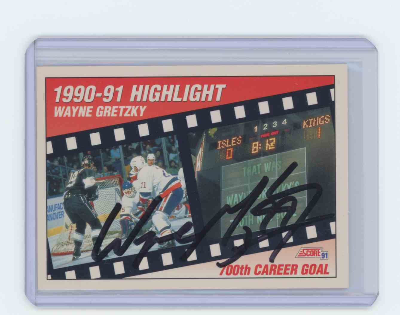1991 1991-92 Score #413 Wayne Gretzky Los Angeles Kings Season Highlight Auto Wayne Gretzky #413 card front image