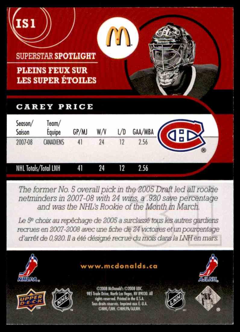 2008-09 McDonald's Upper Deck Superstar Spotlight Carey Price #IS1 card back image