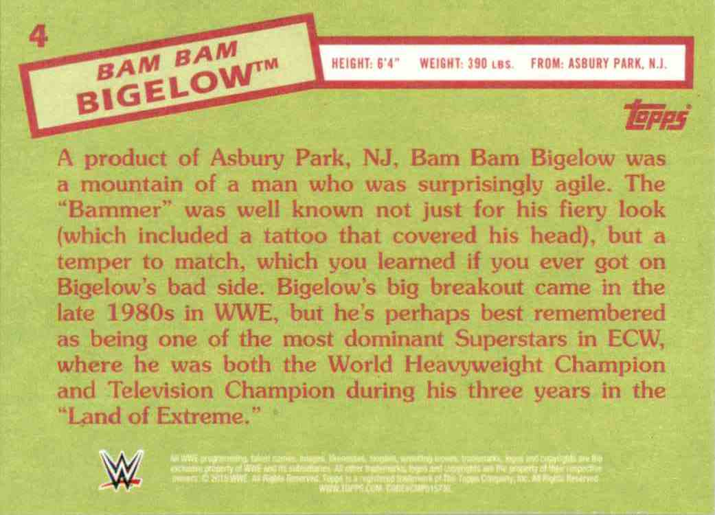 2015 Topps Heritage Wwe Bam Bam Bigelow #4 card back image