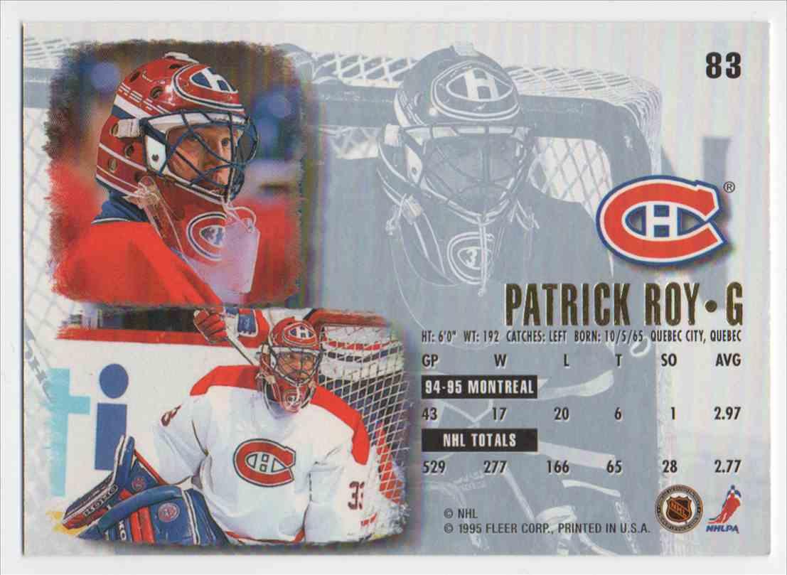 1995-96 Ultra Patrick Roy #83 card back image