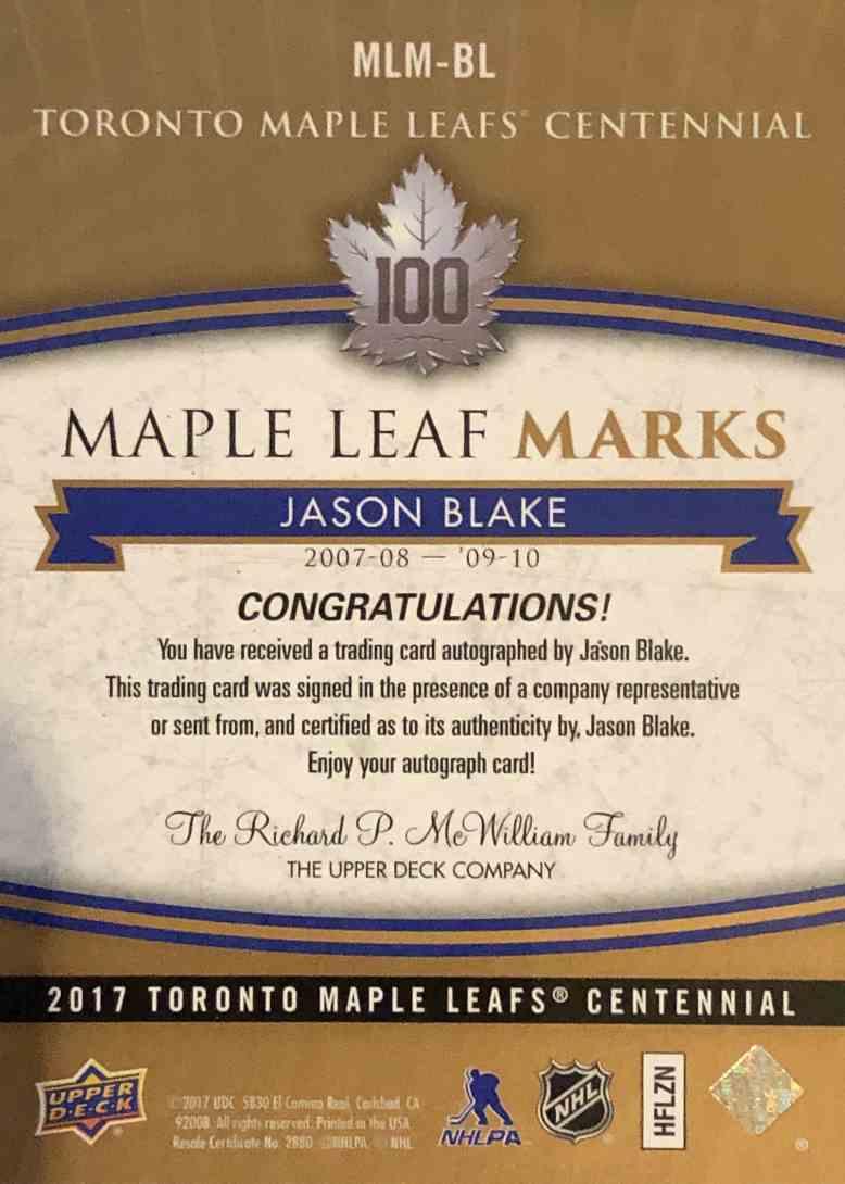 2017-18 Upper Deck Toronto Maple Leafs Centennial Jason Blake #MLM-BL card back image