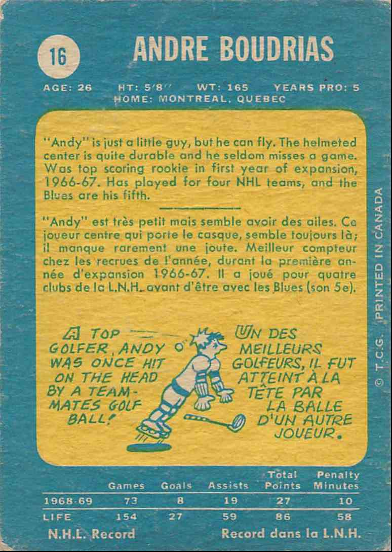 1969-70 O-Pee-Chee Andre Boudrias #16 card back image