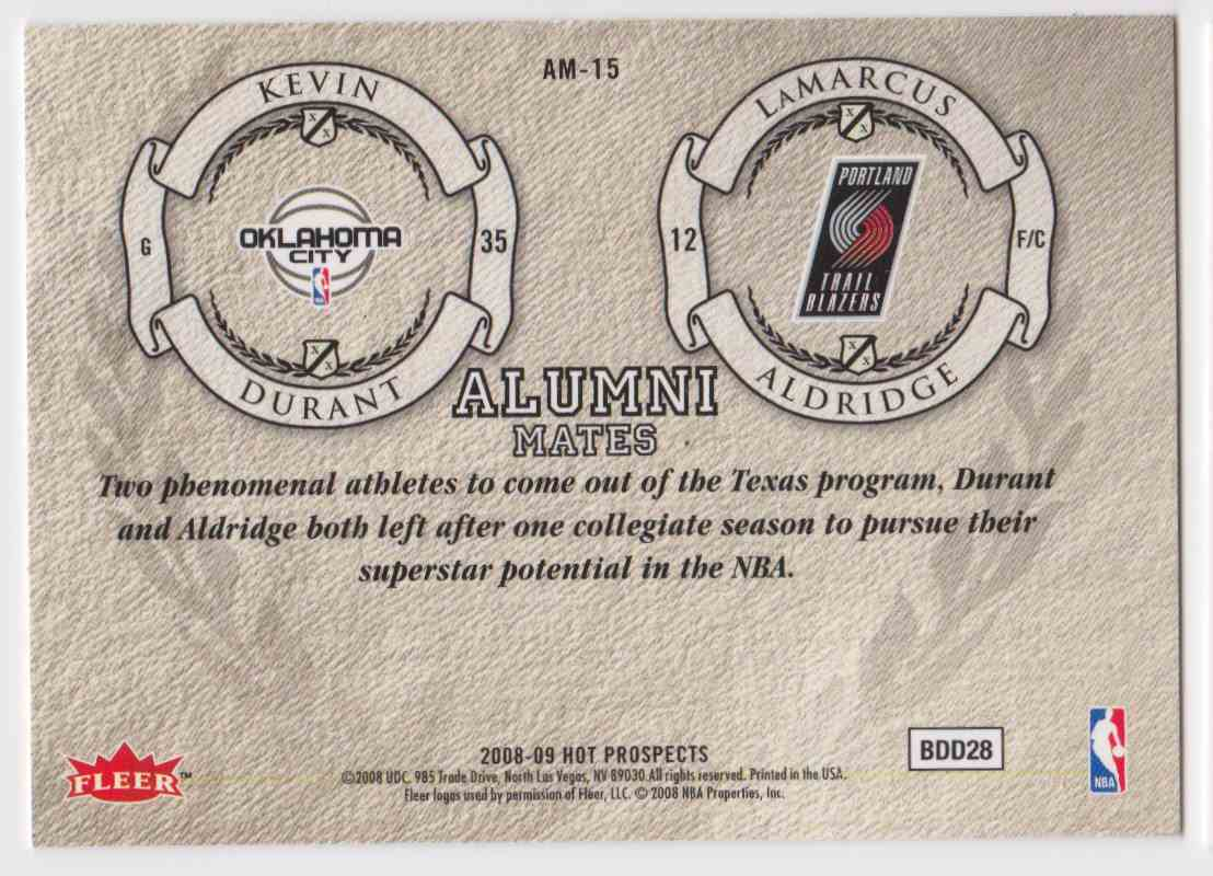 2008-09 Fleer Hot Prospects Alumni Mates Kevin Durant Lamarcus Aldridge #AM-15 card back image