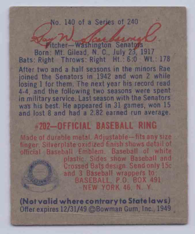 1949 Bowman Rae Scarborough #140 card back image