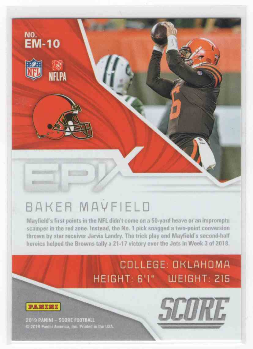 2019 Panini Score Baker Mayfield #EM-10 card back image
