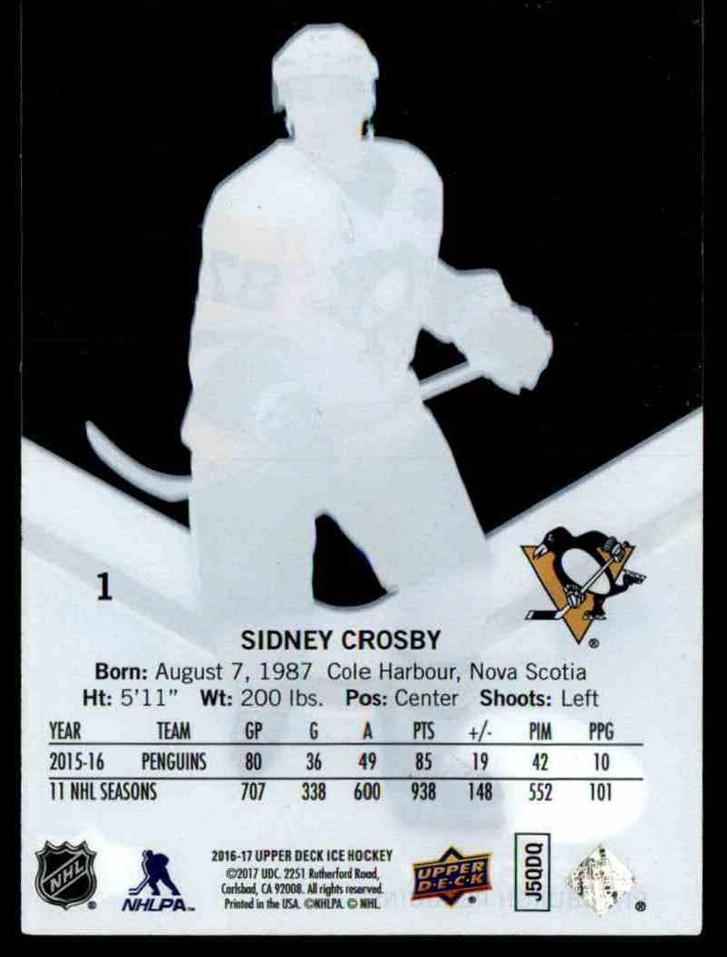 2016-17 Upper Deck Ice Sidney Crosby #1 card back image