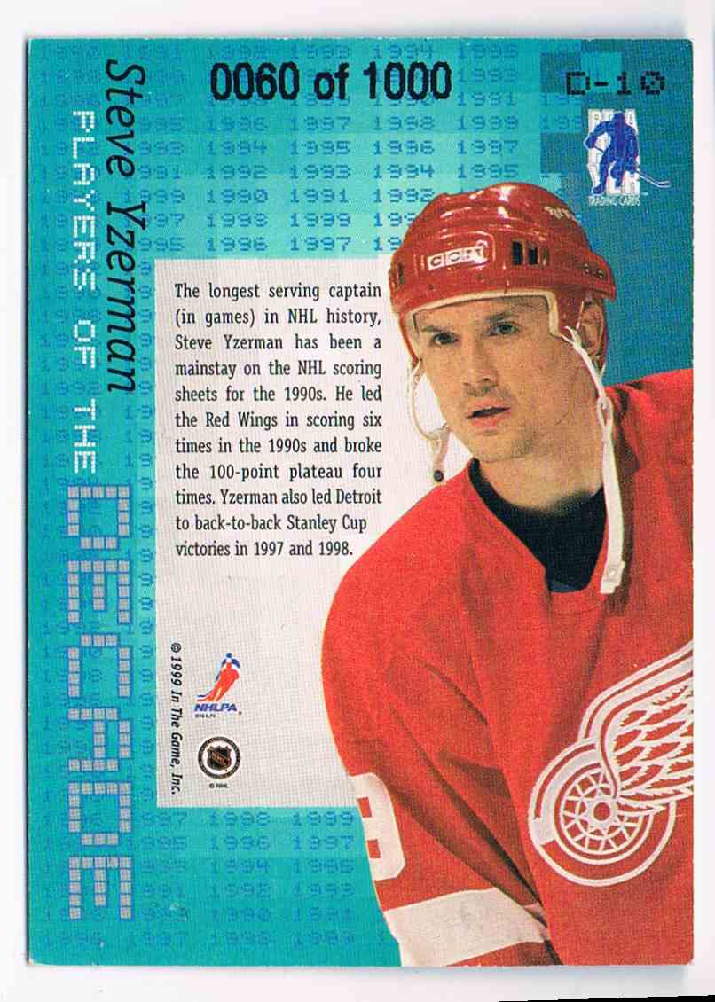 1999-00 ITG In The Game Bap In The Game Be A Player Millennium Signature Series Steve Yzerman #D-10 card back image