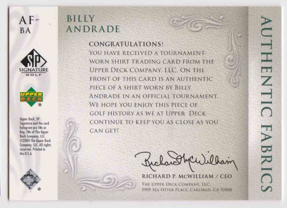 2004 SP Signature Golf Authentic Fabrics Billy Andrade #AF-BA card back image