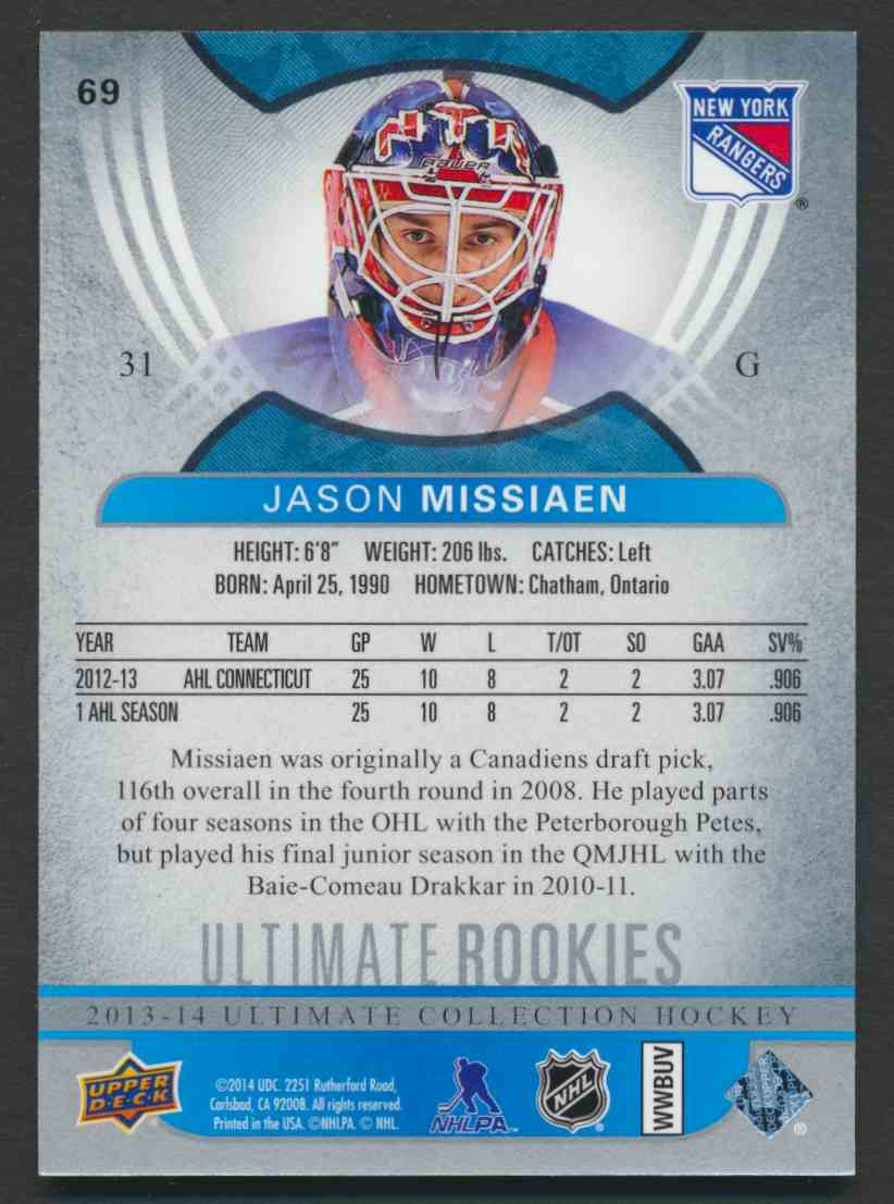 2013-14 Ultimate Collection Jason Missiaen #69 card back image