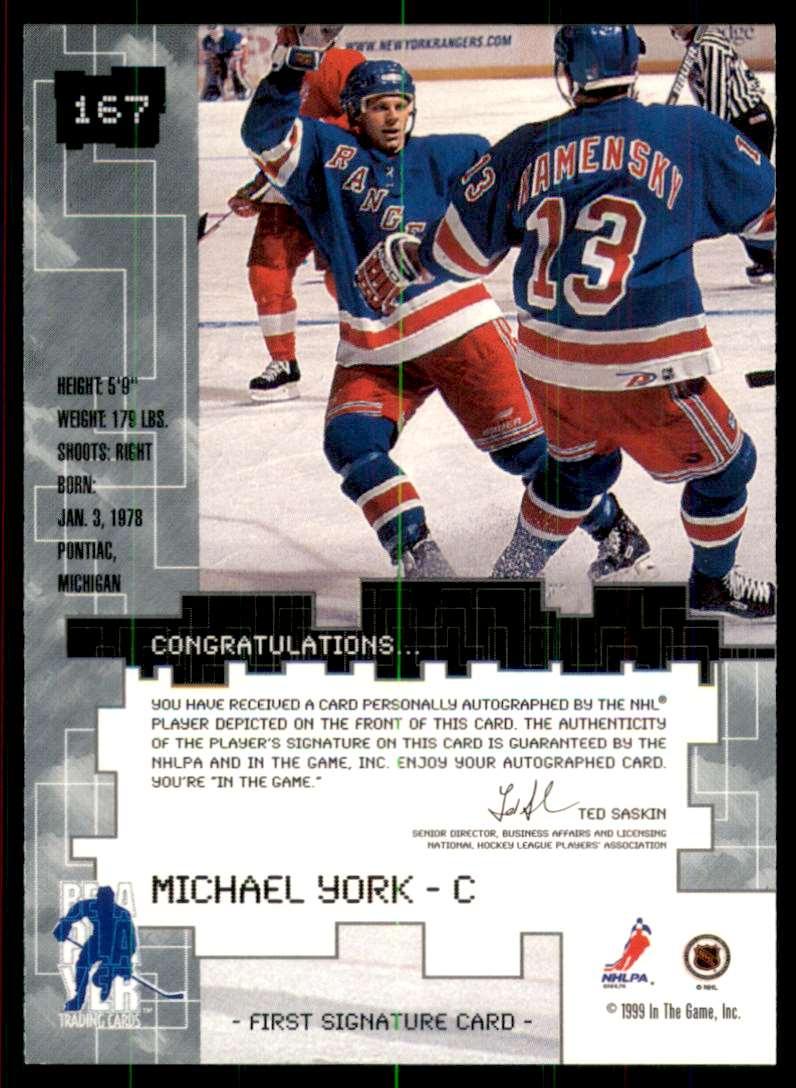 1999-00 Bap Millennium Autographs Michael York #167 card back image