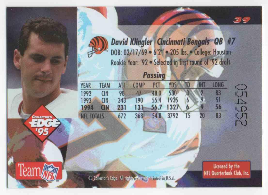1995 Collectors Edge Gold Label David Klingler #39 card back image