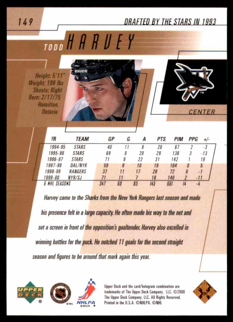 2000-01 Upper Deck Todd Harvey #149 card back image