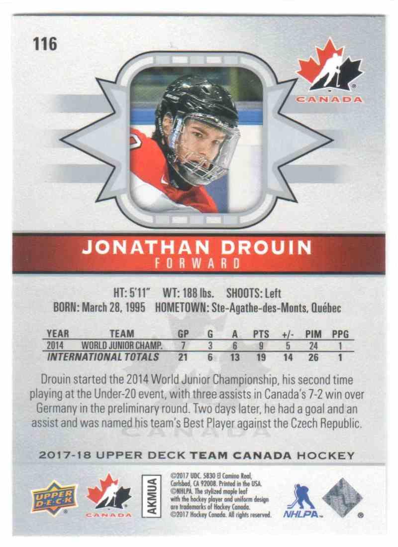 2017-18 Upper Deck Team Canada Canadian Tire Jonathan Drouin #116 card back image