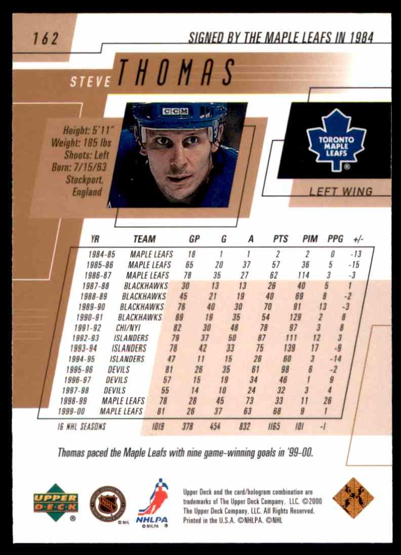 2000-01 Upper Deck Steve Thomas #162 card back image