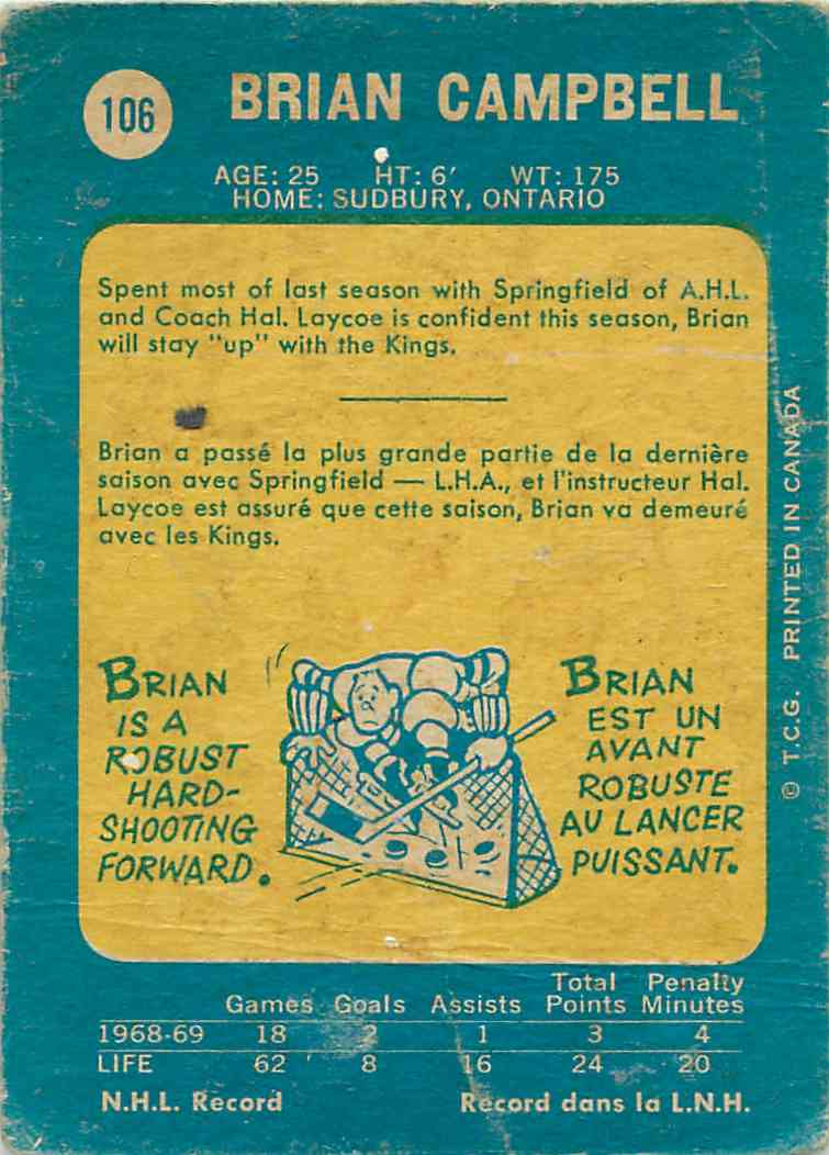 1969-70 Topps Brian Campbell #106 card back image